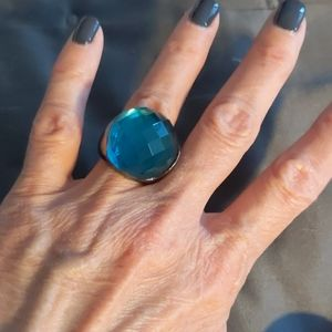 BIG dark aqua blue statement ring